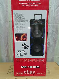 10 Portable Bluetooth Wireless Dual Speaker PA Headset System Remote MIC USB