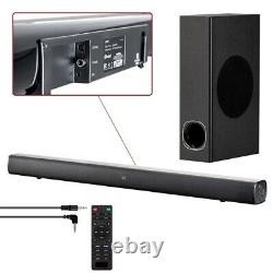 120W 2.1 CH Soundbar Speaker with Wireless Bluetooth Subwoofer Optical Coax Remote