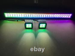 12''-52 Led Light Bar + 2 Pods 3'' Work Chasing RGB Halo Bluetooth / RF Remote