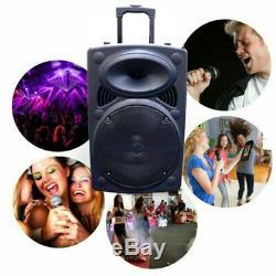 12 Portable Active 1500W Wireless DJ PA Speaker Bluetooth USB Remote Microphone