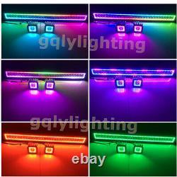14-52 Led Light Bar + 2x 3 Fog Pods Chasing RGB Halo Strobe Bluetooth / Remote