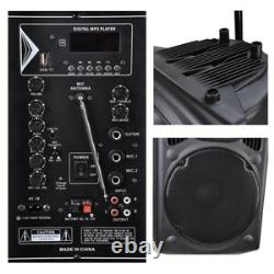 1500W 15 Portable Remote Audio PA Speaker with Bluetooth USB Wireless microp