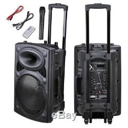 1500W Portable Bluetooth PA Speaker System 12 withRemote DJ Speaker Wireless Mic