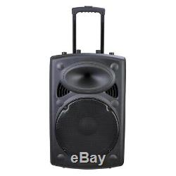15 Portable Active PA Speaker Wireless Bluetooth SD card USB with Mic and Remote