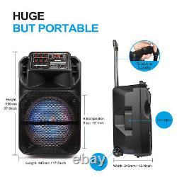 15 Wireless Portable Party Bluetooth Speaker FM AUX With Microphone & Remote NEW