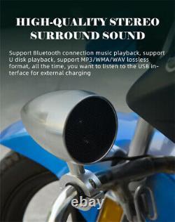 3Inch Speaker Wireless Remote Motorcycle Audio System Bluetooth USB Player 12V