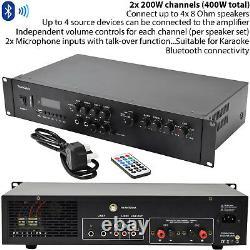 400W Stereo Bluetooth Amplifier 2 Channel Mixer HiFi Amp- Wireless Loudspeaker