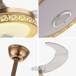 42'' Fan Light LED Chandelier withWireless Bluetooth Remote Control 3 Color Change