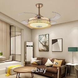 42 Invisible Ceiling Fan LED Light Chandelier 4 Blade+Remote/Wireless Bluetooth
