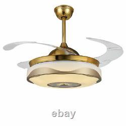 42 Modern LED Ceiling Fan Light Wireless Bluetooth Remote Control Chandelier US