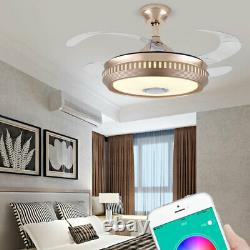 42 Wireless Bluetooth Ceiling Fan Light LED Music Lamp With Remote Control 110V