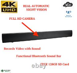 4K UHD WIFI Wireless Night Vision Bluetooth Sound Bar Remote Spy Hidden Camera