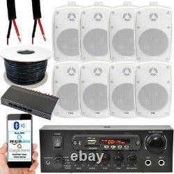 4 Zone Bluetooth Kit8 x 60W Outdoor White Speakers Stereo Amplifier Garden BBQ
