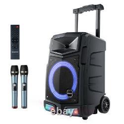 500W Bluetooth Karaoke Machine PA Speaker System 2 Wireless Mic Remote Control