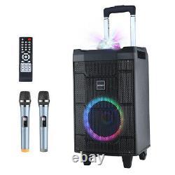 500W Bluetooth Karaoke Machine Wireless PA Speaker System 2 Wireless Mic Remote