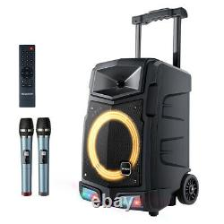 500W Karaoke Machine PA Speaker System Bluetooth 2 Wireless Microphone Remote SD