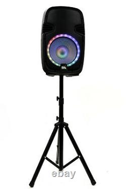 Active 12 DJ Karaoke Speaker & Stand Bluetooth LED Wireless Mic Cables Remote