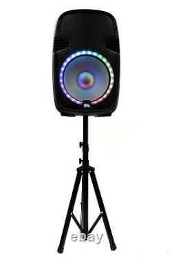 Active 12 DJ Karaoke Speaker w Stand Bluetooth LED Wireless Mics Cables Remote