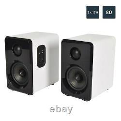 Active Wireless Bluetooth Bookshelf Speakers Pair AUX/USB/SD + Remote White