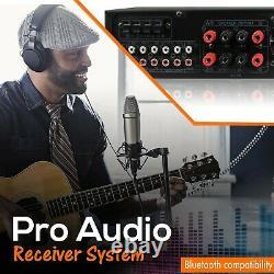 Bluetooth Home Stereo Amplifier 1500 Watt USB SD 2 Mic Inputs Wireless Remote