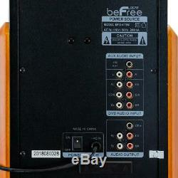 Bluetooth Speaker System Wood 5-Speakers 5-Channels Wireless Remote FM Radio