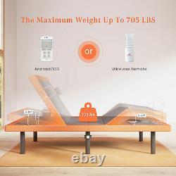Electric Adjustable Bed Frame Base USB Ports Led Light Bluetooth Wireless Remote