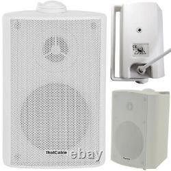 Garden Party BBQ Outdoor Speaker Kit Wireless Mini Stereo Amp & 4 White Speakers