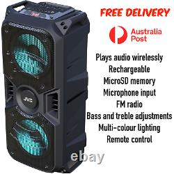 JVC Portable Wireless Bluetooth Party Speaker USB microSD Aux Remote FM Radio