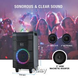 Karaoke Machine Speaker System 8LED with Bluetooth Wireless Mic Remote Control