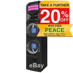 Lenoxx 80W Stage Bluetooth Speaker w LED Lights/Radio/Remote/Aux/MP3 USB Player