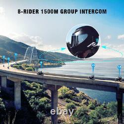 Motorcycle Bluetooth Helmet Headset Wireless 1500M 8 Riders FM+L3 Remote Control