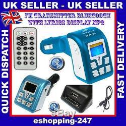 New Bluetooth CAR HandsFree FM Radio SD USB MP3 Transmitter Modulator Remote