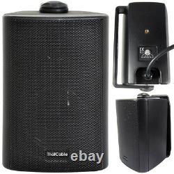 Outdoor Bluetooth Speaker Kit 2x Black Karaoke/Stereo Amp Garden BBQ Parties