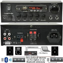 Outdoor Bluetooth Speaker Kit 2x White Karaoke/Stereo Amp Garden BBQ Parties