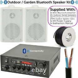 Outdoor Bluetooth Speaker Kit 2x White Karaoke Stereo Amp Garden BBQ Parties