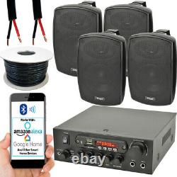 Outdoor Bluetooth Speaker Kit 4x 60W Black Stereo Amplifier Garden BBQ Parties