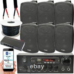 Outdoor Bluetooth Speaker Kit 6x 60W Black Stereo Amplifier Garden BBQ Parties