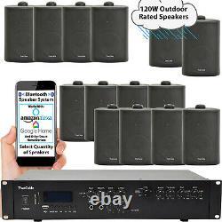 Outdoor Bluetooth Stereo System 120W Black Weatherproof Speakers Garden Audio
