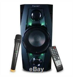 PORTABLE PARTY SPEAKER Bluetooth w FM Radio, Remote Control & Wireless Mic NEW