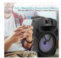 Portable Bluetooth DJ, PA Speaker AC/DC, Mic Wireless Remote LED