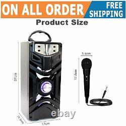Portable Bluetooth Karaoke Machine with 2 Microphones Wireless Remote Control