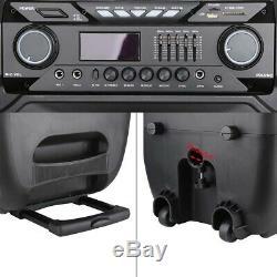 Portable Bluetooth PA Speaker System 12/15 Remote DJ Speaker Wireless 2Mic
