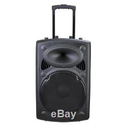 Portable Remote Bluetooth Wireless Pa Speaker Mic AMP USB SD LCD FM 15 Woofer