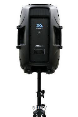 Powered 12 DJ Karaoke Speaker System Bluetooth LED Wireless Mic Cables Remote