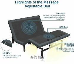 Queen Upgraded Size Smart Electric Massage Bed Frame Wireless Remote & Bluetooth