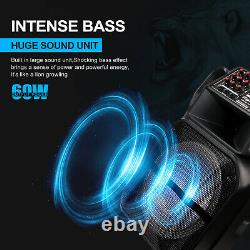 Rechargeable 15 Wireless Bluetooth FM Party Stereo Speaker with Lights Mic Remote