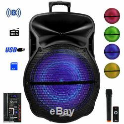Rechargeable 18 Bluetooth Portable Dj Pa Party Speaker Remote Wireless MIC Mp3