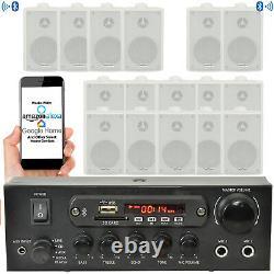 SMART HOME Outdoor Bluetooth White Speaker Kit Karaoke/Stereo Amp Garden BBQ