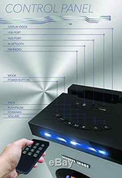 Sharper Image Bluetooth Tower Speaker With Lights, FM Radio & Remote Control, White