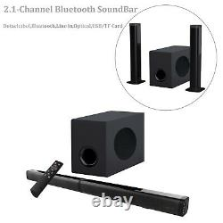 Sound Bar with Subwoofer Bluetooth 5.0 Speaker 2.1 System Wireless Remote USA